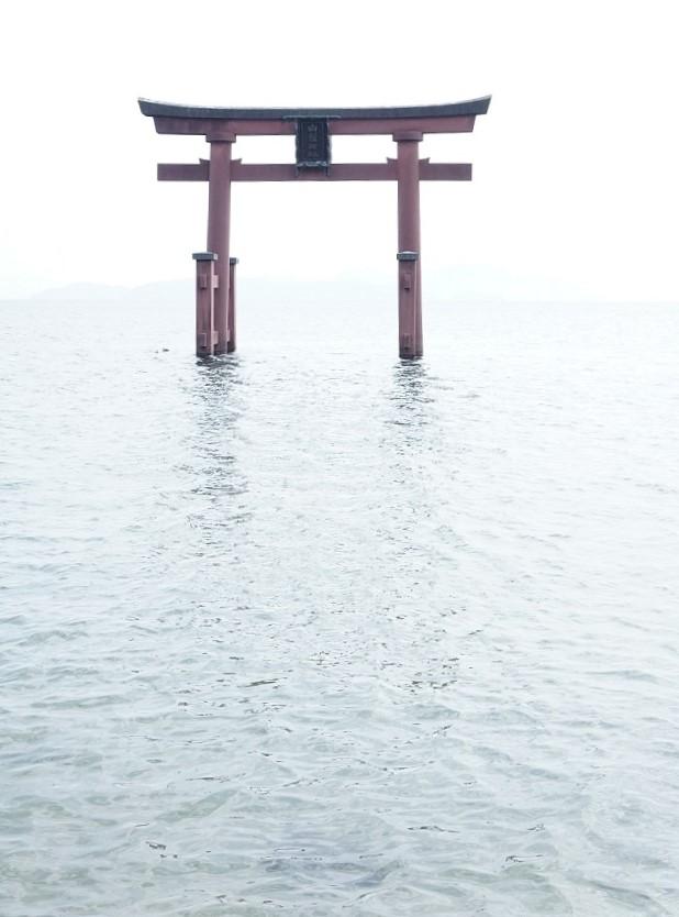 竹生島参拝にあわせて訪ねたい白髭神社。水は命の源であることを思い出させる鳥居は写真映えも素晴らしい。