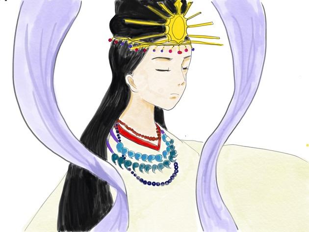北の磐座に宿るとされる稚日女尊のイラスト