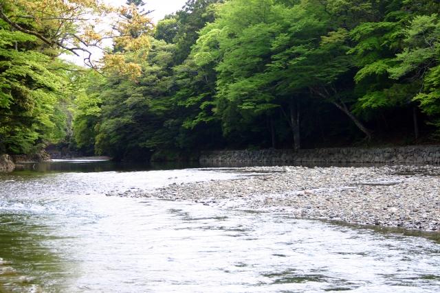 伊勢神宮と俗界を隔てて流れる五十鈴川。天岩戸神社を流れる川も同じ名前。