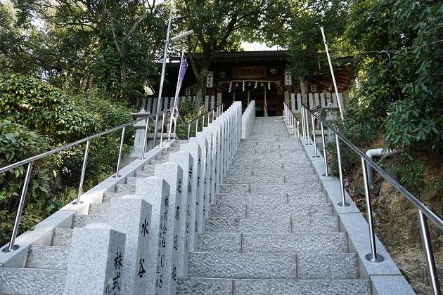 星田妙見宮の拝殿へと続く石段。ここが一番気持ちのいいところ。