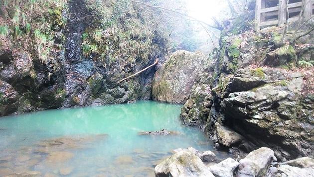 ご座石と本殿直下の神域。美しい水をたたえている。