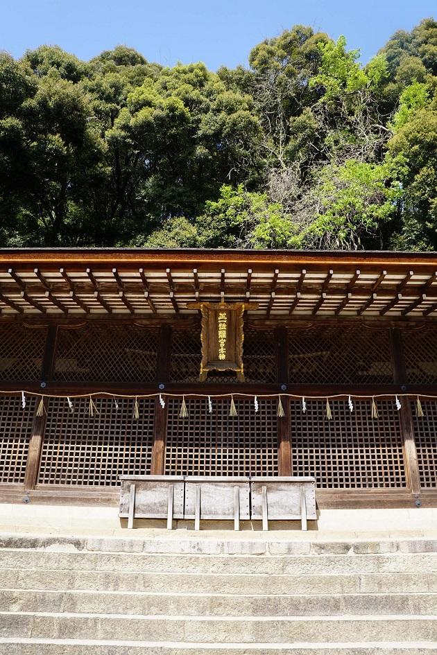 国宝に指定される宇治上神社の本殿。日本最古の神社建築物として知られる。学業成就のご利益があるとされる。