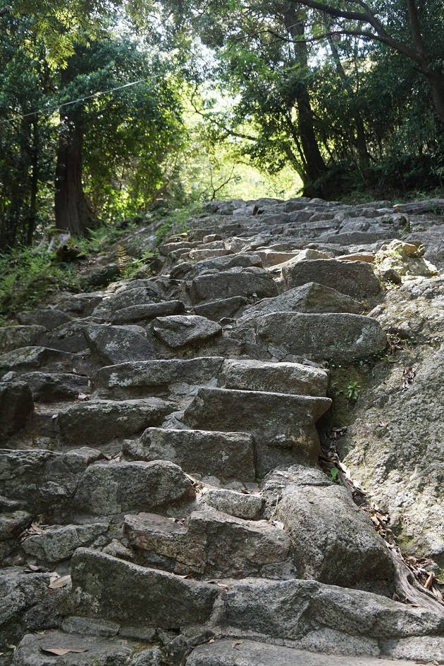 急な石段が連なる神倉神社の参道。