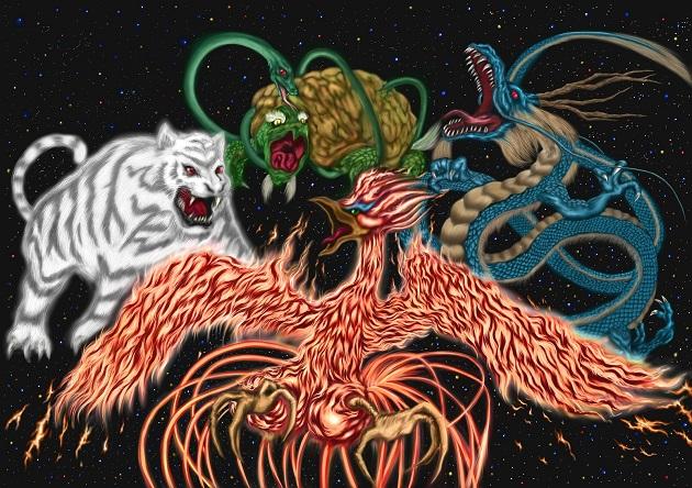 京都五社めぐりの原点は「四神相応の地」に。玄武、白虎、朱雀、青龍を各社が守護している。特にめぐる順序はない。