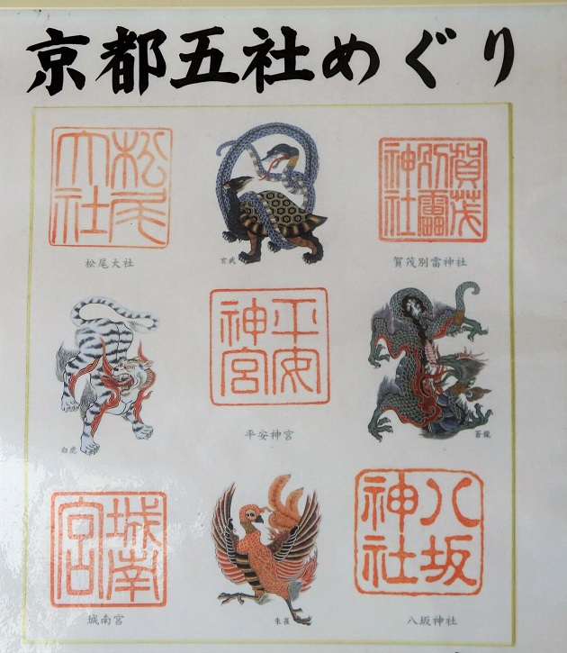 松尾大社を含む京都五社めぐりの色紙。京都五社めぐりでご利益アップを。