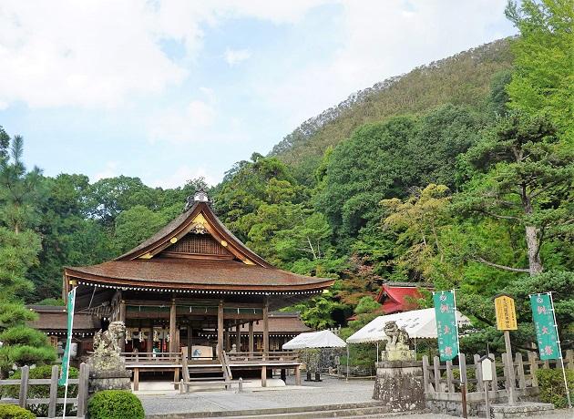 背後に神体山が控える出雲大神宮の本殿。