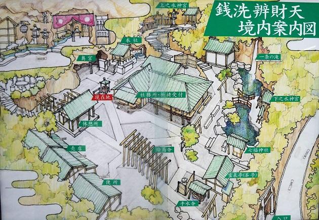 境内案内図を示す。銭洗弁財天では中央に社務所があり、左手に本社、奥院が配置されている。