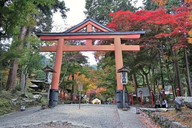 上部に合掌を乗せた日吉大社の鳥居。山王信仰のトレードマーク的存在だ。