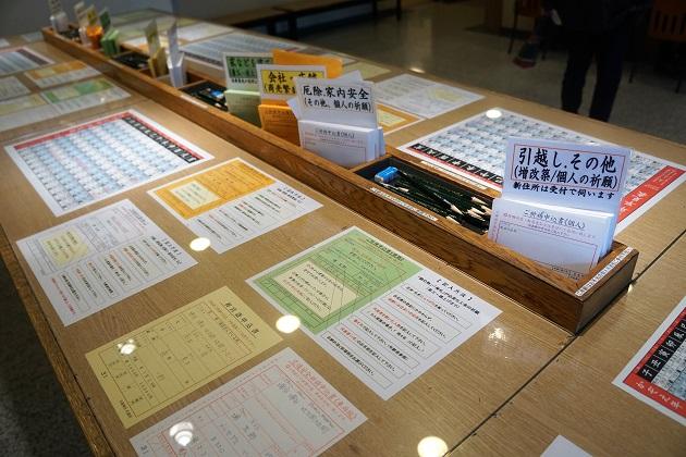 申し込み用紙に必要事項を記入する方違神社のデスク