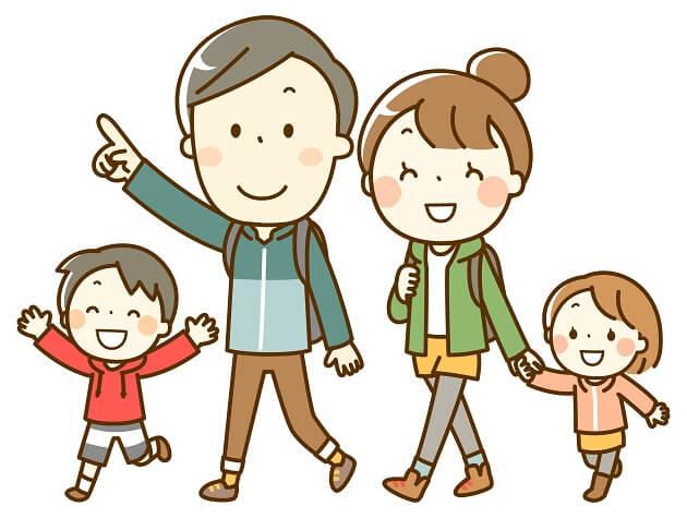 家族で山道を行くイラスト。