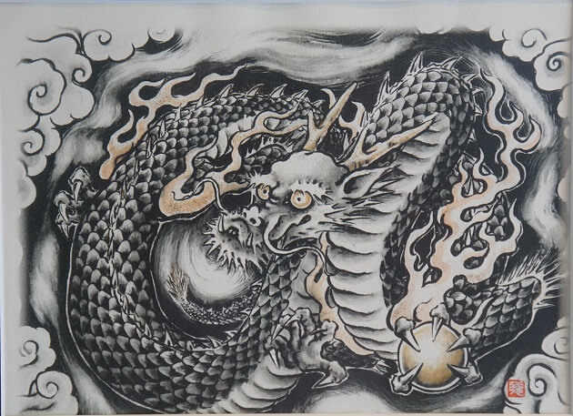 辰年を象徴する龍の天井画