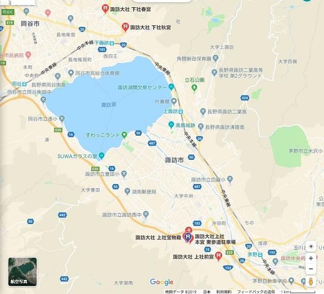 諏訪湖を挟み込む諏訪大社のレイアウト
